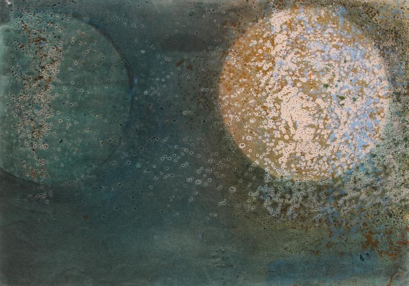 Deux lunes, techniques mixtes sur papier, 70x100 cm 2016 1920 250 dpi